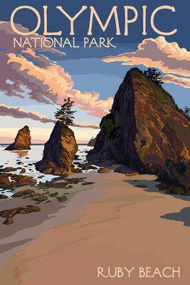 ✧ Olympic National Park, Washington - Ruby Beach - Lantern Press Poster ✧