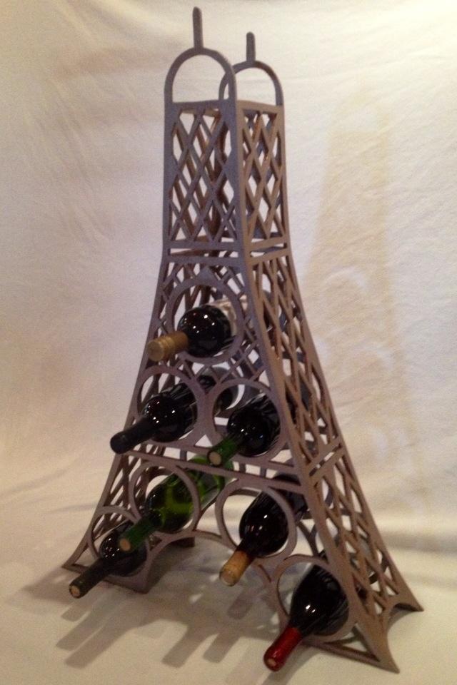 Eifel Tower Wine Rack. Made of craft wood.