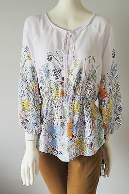 IVANKA-TRUMP-Floral-Print-Elastic-Waist-Blouse-Size-S-NWT-Watercolor-Print-Top