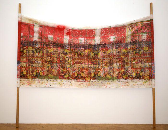 Miklós Onucsán (Romanian artist) -Hygiene De L'Art.Contre Culture -  silkscreen on canvas h = 230 cm format variable 2008  http://www.artfacts.net/en/artist/miklos-onucsan-83460/artwork/hygiene-de-lartcontre-culture-30178.html
