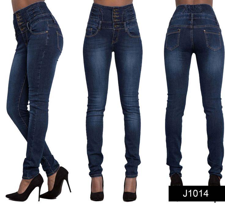 Womens Ladies Sexy High Waist Skinny Ripped Jeans Blue Stretch Denim Size  6-16