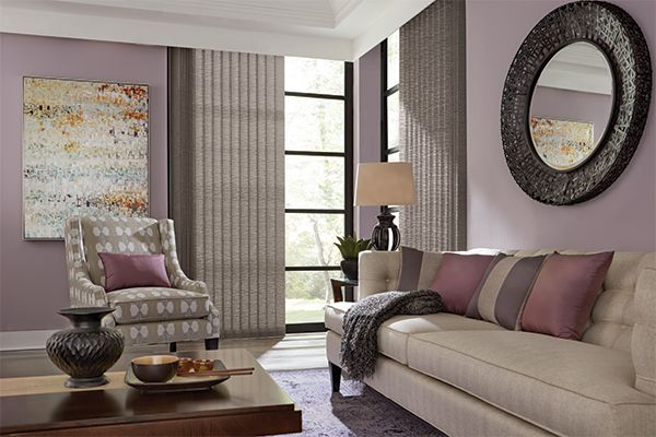 Graber Blinds Fabric Vertical Blind with Cord and Chain Control: Urban Loft, Rooftop 0383; Square Corner Valance