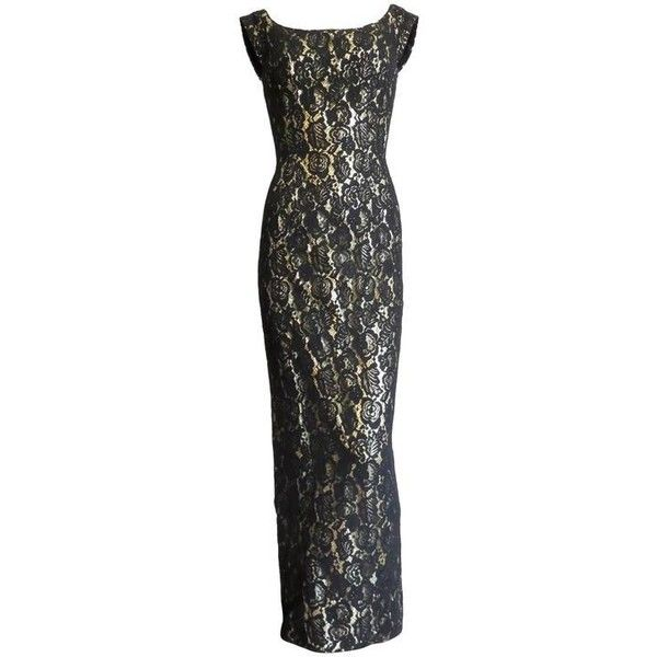 Preowned 1960's Mr. Blackwell Custom Gold Lame Black Lace Overlay... ($495) ❤ liked on Polyvore featuring dresses, black, gold cocktail dress, metallic gold dress, floral bodycon dress, body con dresses and bodycon dress