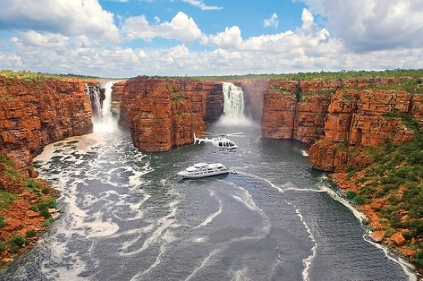King George Falls, Western Australia. This dual waterfall has a uninterrupted drop of over 80m, making it the tallest waterfall in the state! View these falls by boat or by air, either way both options will take your breath away.
