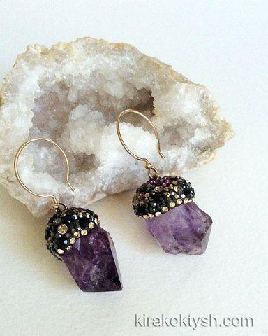 Kira Koktysh Jewelry Earrings (Materials: Raw Purple Amethyst, Swarovski crystals,  Gold-filled earwire ) SOLD
