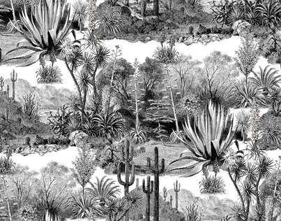Toile de Jouy revisitée, Pampa joue avec les perspectives et les codes de ce style traditionnel français. Réalisé en noir et blanc, ce motif rappelle les gravures, témoins des périples exotiques d'un autre âge.