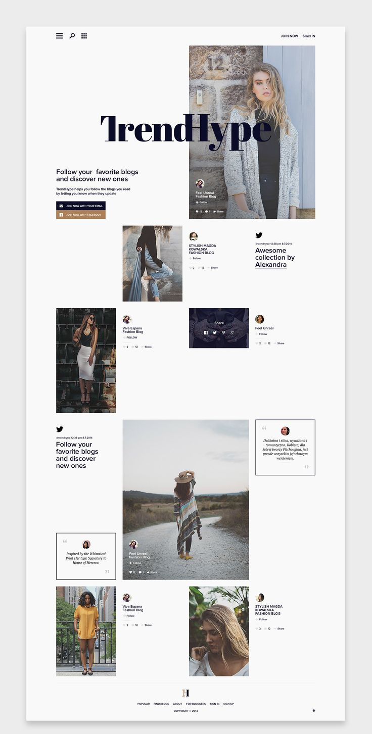 TrendHype helps to follow your favorite blogs in one placeand discover what's popular in fashion.Back in June 2014 I was asked to design the website for Trendhype. It took some time, but it's finally online and I can share the results of my work. Enjoy!…