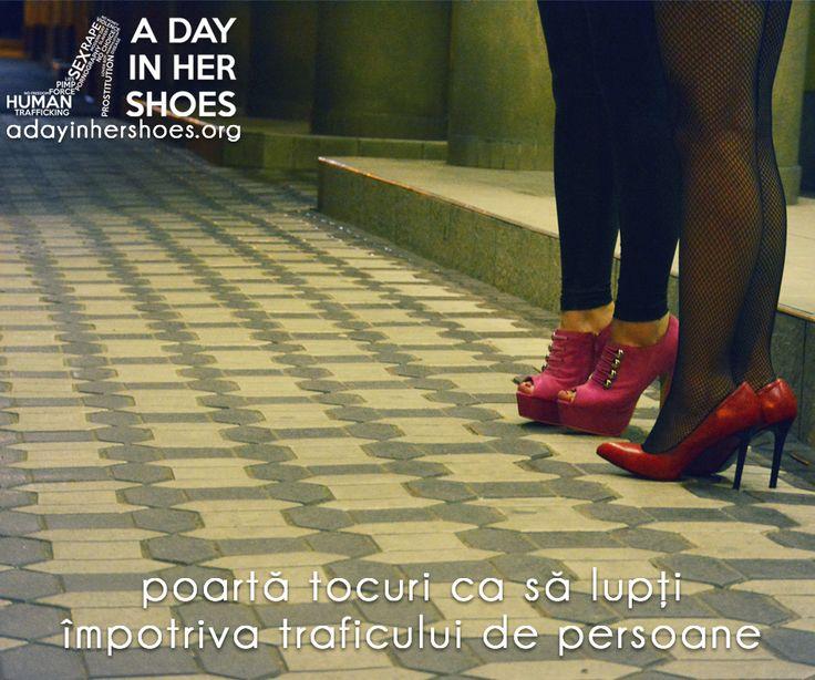 Vrei să porți tocuri în data de 30 iulie ca să te pui în pantofii unei femei care suferă datorită traficului? De asemenea, poți să donezi 20$, 30$, 50$ sau orice sumă vrei ca să ajuți la prevenirea traficului de persoane chiar acolo unde se întâmplă. Arată azi că îți pasă înregistrându-te pe http://www.adayinhershoes.org/ #adayinhershoes