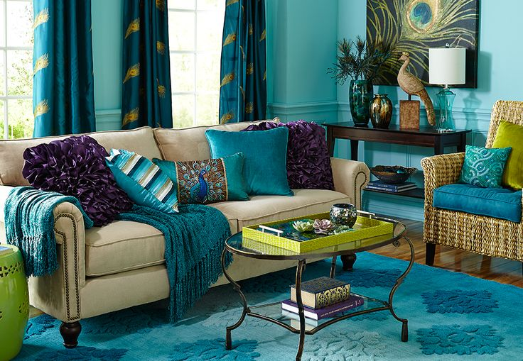Bold peacock colours make for a very refreshing living room scheme.