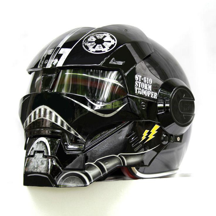 Star Wars Stormtrooper Helmet Motorcycle Half Helmet Motocross Masei Black   eBay