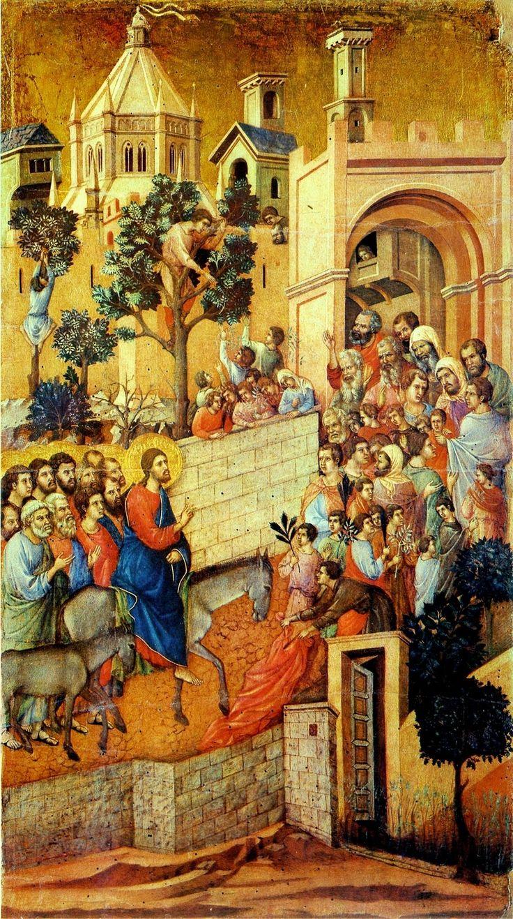 Duccio: 'De intocht van Christus in Jeruzalem' ~ 1308-1311 ~ Paneel van de achterzijde van de 'Maesta' ~ Museo dell' Opera del Duomo, Siena