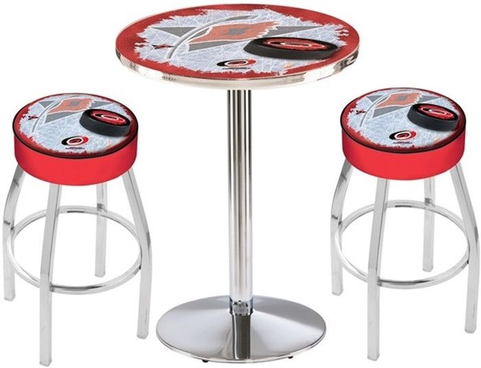 Carolina Hurricanes NHL D2 Chrome Pub Table Set. Available in 28-inch or 36-inch diameter Table Top. Visit  SportsFansPlus.com for details.