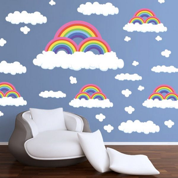 Cheap Wall Decals   Beautiful Rainbow And Clouds Wall Decals Ideas Clouds Wall  Decals Alternative Choice