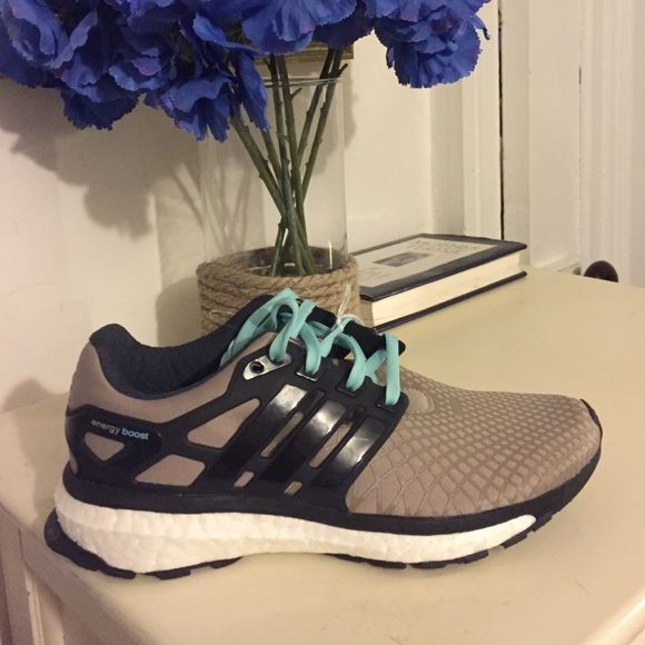 Ladies Adidas Boost Foam Running Sneakers Ultra luxurious sneakers. Stretch upper and high return boost compound in the midsole. Tan/Light Turquoise/Black. Originally $180, never worn! Adidas Shoes Athletic Shoes