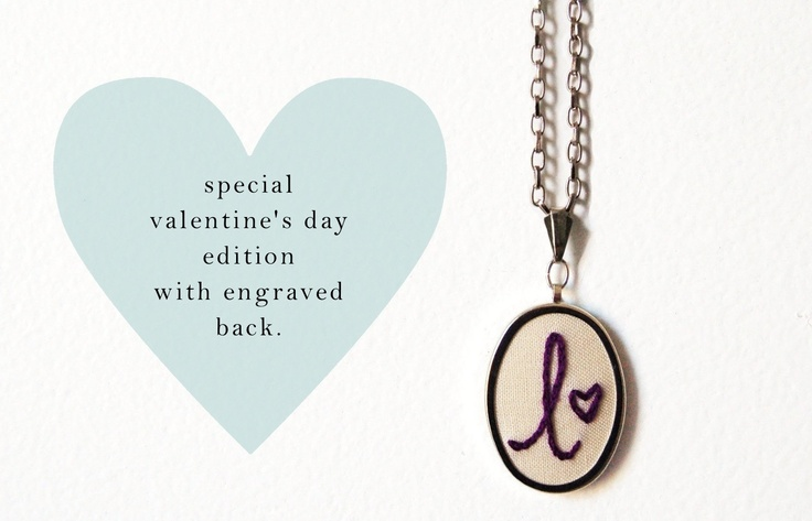 Special Valentine's Day Edition. Embroidered Initial Necklace with Heart and ENGRAVED Back Piece. xoxox.