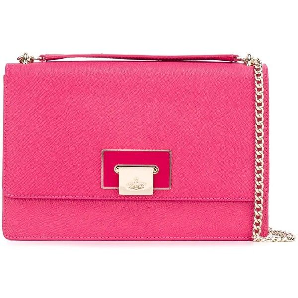 Vivienne Westwood Flap Shoulder Bag ($401) ❤ liked on Polyvore featuring bags, handbags, shoulder bags, shoulder bag purse, pink shoulder bag, pink handbags, chain strap handbags and flap handbags