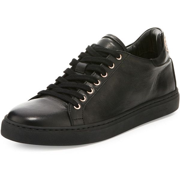 Sophia Webster Bibi Butterfly Leather Low-Top Sneaker ($375) ❤ liked on Polyvore featuring shoes, sneakers, black, shoes sneakers, leather low top sneakers, black leather flats, black laced shoes, black round toe flats and leather flats