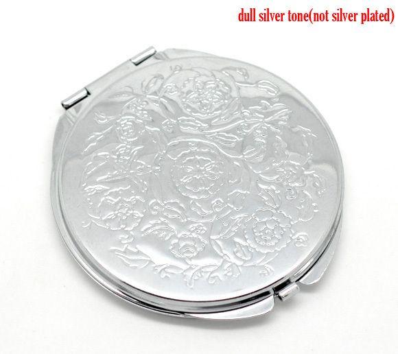 Серебряный Тон Резные Визаж Компактное Зеркало 6.6x6.2 см (2-5/8 x2-1/2), продается за пакет из 1