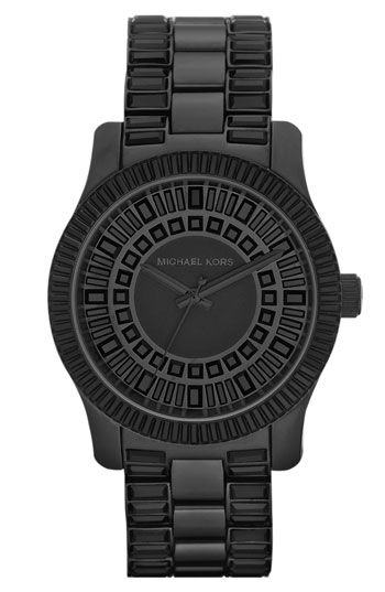 Adding this to my watch wishlist!Kors Michael, Crystals Bracelets, Michael Kors Watch, Blacked Out Bracelets, Kors Runway, Black Watches, Baguette Crystals, Kors Watches, Bracelets Watches
