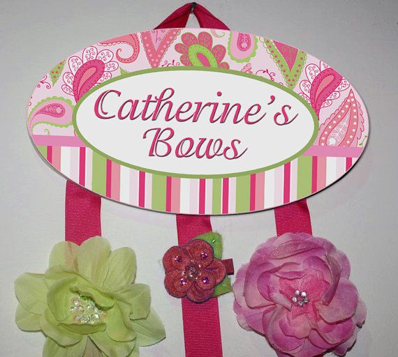 HAIR BOW HOLDER - Personalized Pink Green Paisley HairBow Holder - Bows and Clippies Organizer - Girls Personal Hair Bow and Clip Hanger