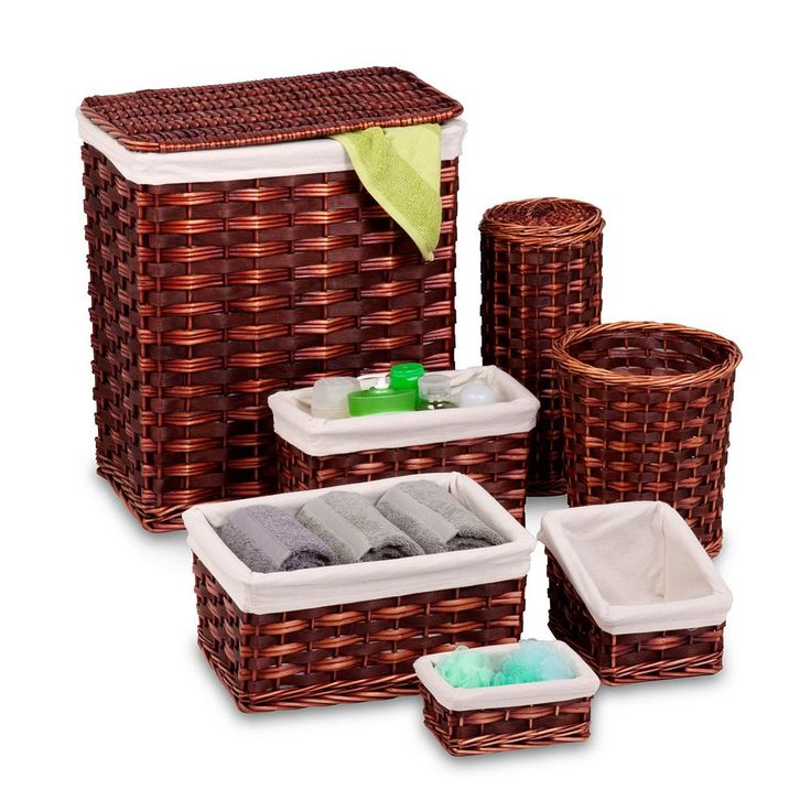 Honey-Can-Do 7-piece Wicker Hamper Set, Brown