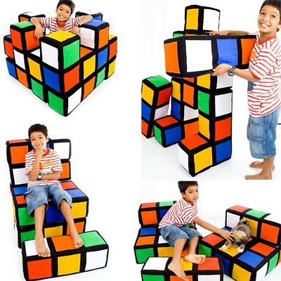Modular Rubik's Cube Furniture For Childreb by Consumed