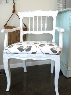 Lake Girl Paints: Refresh with High Gloss White. Perfect for chairs I'm redoing. Paint and fabric.