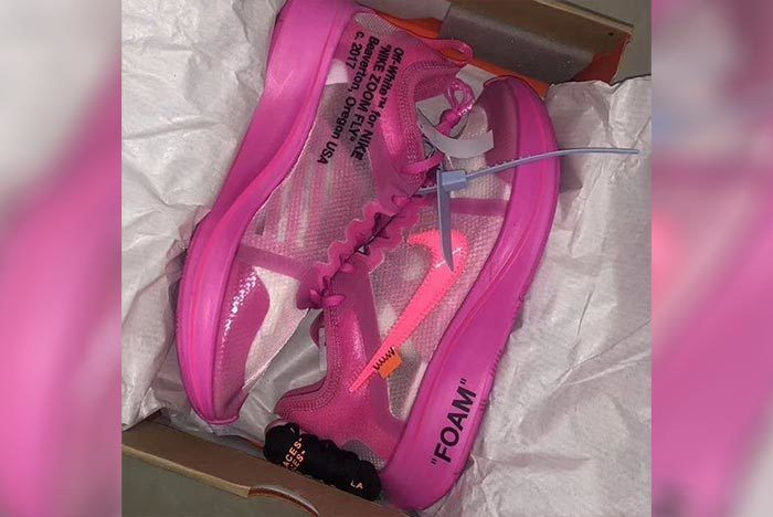 new arrivals presenting first look First Look: Pink-Dipped Off-White x Nike Zoom Fly SP