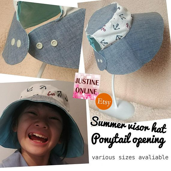 a502cce870e Ponytail Opening Wide Brim Summer Visor Hat Adjustable Handmade Sun Hat  (Anchor Print) Cotton Linen
