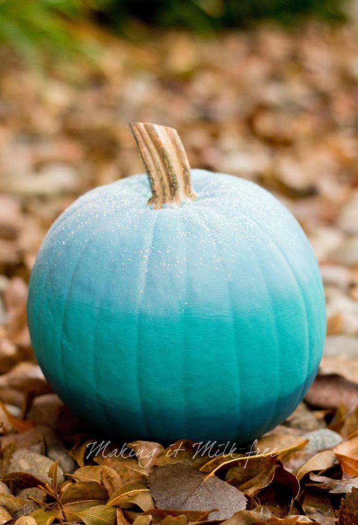 Teal Ombre Pumpkin with Glitter by Making it Milk-free | Teal Pumpkin Project | makingitmilkfree.com