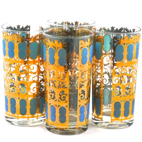 """Adonis America - Unique gifts & decor   Culver Glass 22k """"Azure Scroll"""" tumblers S/4"""