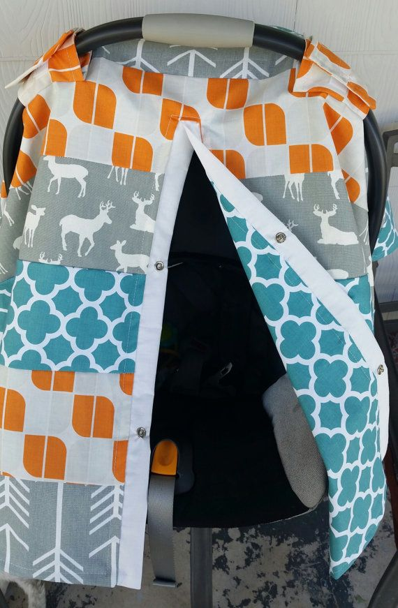 Carseat Canopy Deer Arrow Strip Work Cover by fashionfairytales
