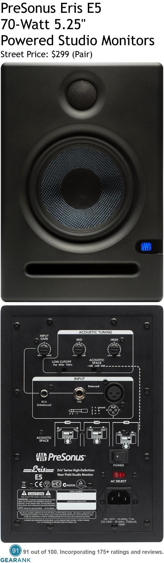"PreSonus Eris E5 70W 5.25"" Powered Studio Monitors. Features: 5"" LF Kevlar driver 1"" HF Silk Dome tweeter - Bi Amplification: LF 45W 