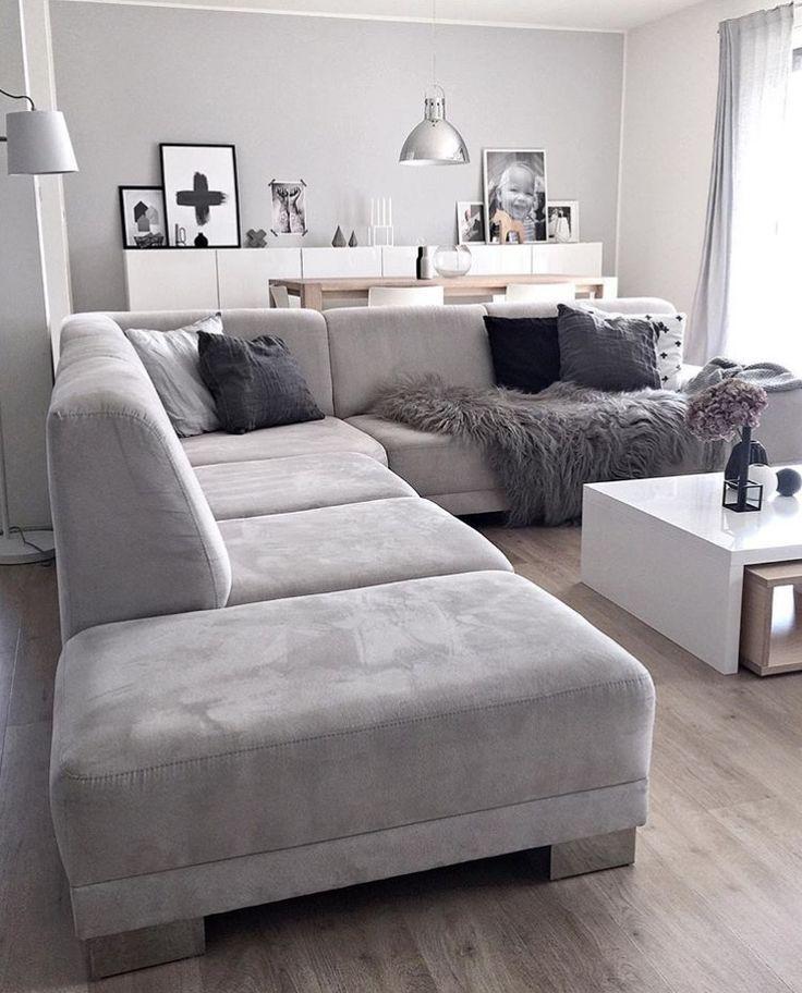 Sofa De Canto Cinza In 2020 Wohnung Wohnzimmer Wohnzimmer Ideen Wohnung Wohnzimmerentwurfe