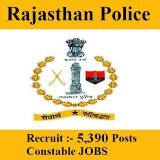 Rajasthan Police Recruitment 2017 | 5390 Posts | Constable Jobs | Sarkari Naukri