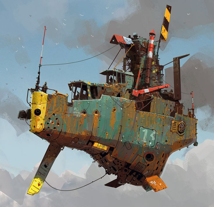 Tramp Stramer - Ian McQue. Reminds me of the hover junk that served up noodles to Corbin Dallas in the 5th Element.