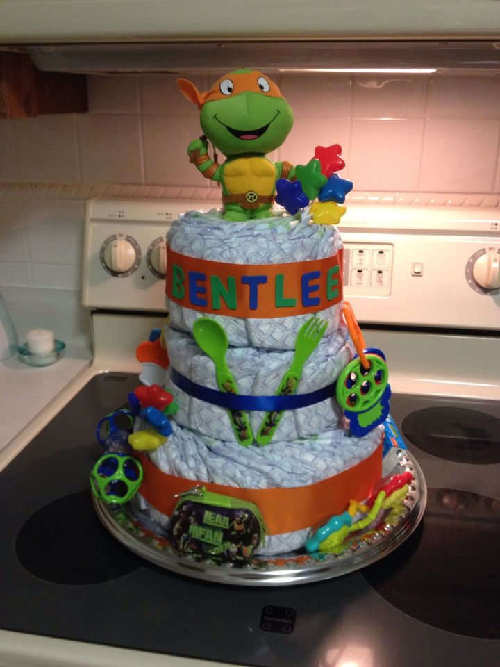 Ninja turtle diaper cake