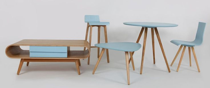 BALTIK Blue Tainted Wood Modern Scandinavian Bar Chair/Stool