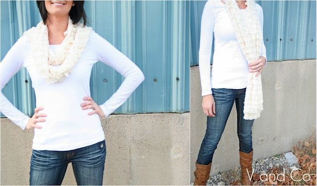 Tutorial for ruffle scarf and other scarves and ruffle skirt ruffle bagCrafts Ideas, Ruffle Scarf, Scarf Tutorials, Sewing Projects, White Shirts, Diy Clothing, Ruffles Scarf, Fabrics Scarf, Ruffles Fabrics