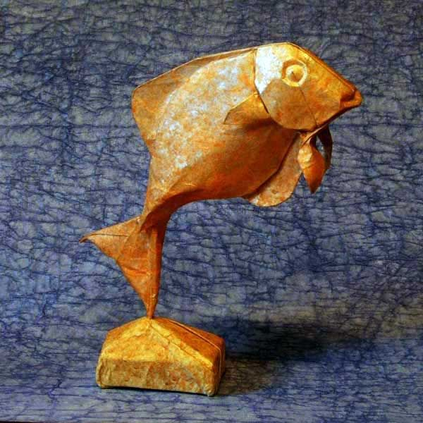 Orange fish origami by Eric Joisel