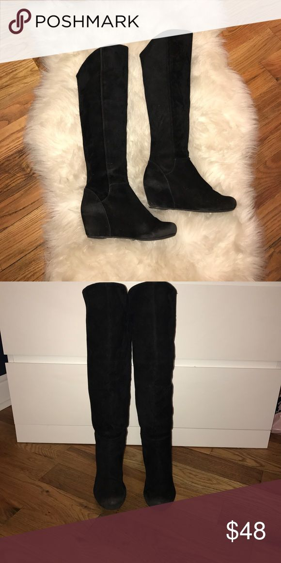"Suede Wedge Boots Black Suede Wedge Boots  Knee high   Completely suede   Calf area is not skin tight, but does stay up on its own, does not slouch   About an inch higher in front  Angled toward the back   3 1/2"" wedge  Extremely comfortable  Mild wear, in great condition Bakers Shoes Heeled Boots"