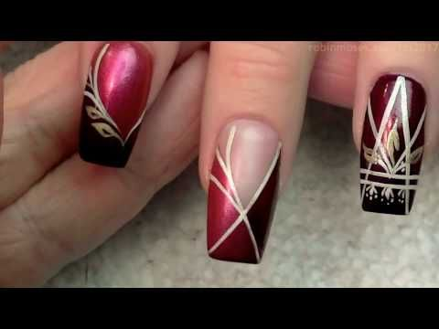 Holo Heart Striped Hand Painted Nails | Beautiful DIY Nail Art Design Tutorial - YouTube
