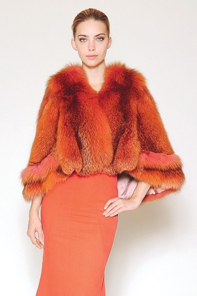 Furs 2013 Trends: To Dye For (Zac Posen's coral cape worn over his stretch silk faille halter gown.)