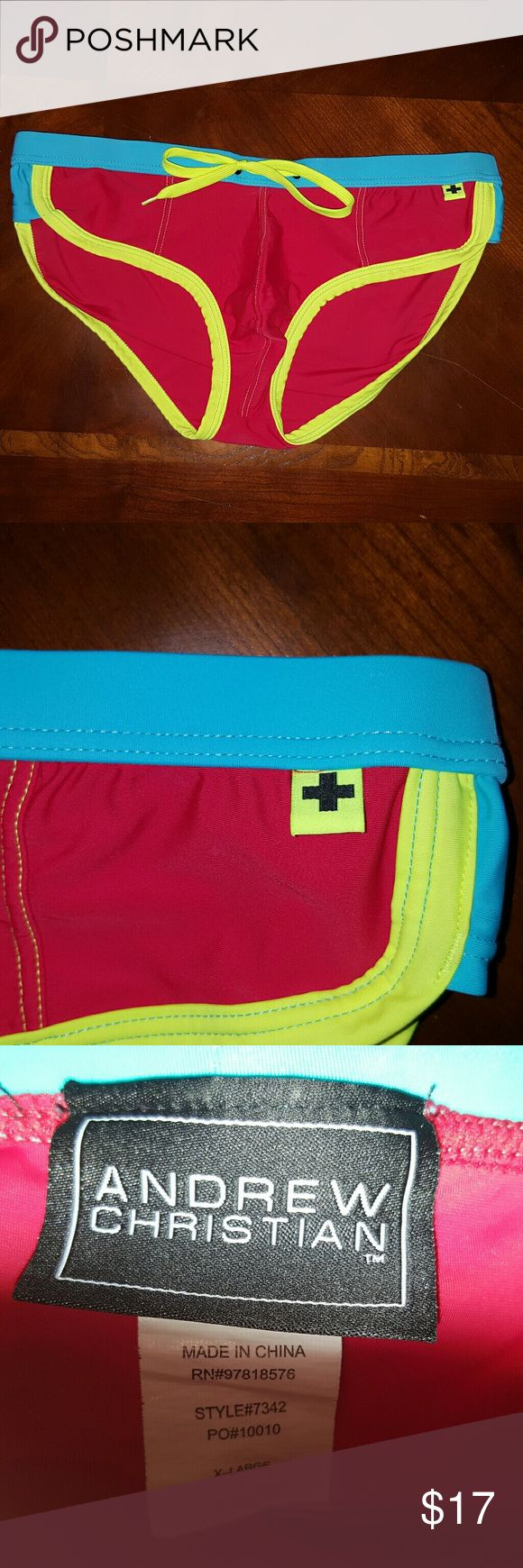 Andrew Christian Swim Briefs Size XL NWOT.  No frontal support.   Sky blue waistband and yellow piping. Andrew Christian Swim Swim Trunks