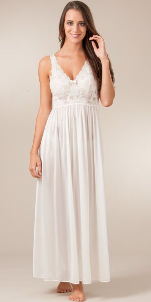 Shadowline Silhouette Sleeveless Long Nightgown  ~  in Ivory  ~  under the sheer lace 'lingerie'  ~  $44