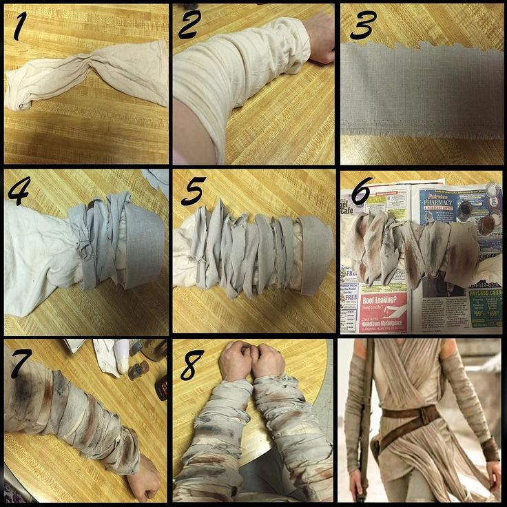 Rey cosplay sleeve tutorial by @chrissycat84 Be sure to tag me in your pics if you end up using this! :) 1. I started by cutting the sleeves off of a white long sleeved tee and dipping them in a tea stain. 2. Next step is to sew elastic into the sleeves so they stay in place. I did this by flipping it so that what was the wrist is now on top with the larger band for the upper arm and the upper arm part of the tee is now the wrist part with the smaller band. You will have to trim off the…