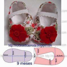 O molde com medidas de sapatinhos de criança que proponho é para nove meses. Para costurar o molde deste sapatinho deve usar tecidos à base de fibras natur