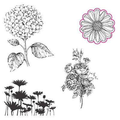 """Best Of Flowers Clear-mount Stamp Set  133342  - Price: $14.95       This set also includes a never-before-seen flower image that coordinates perfectly with our 1-1/4"""" Scallop Circle punch."""