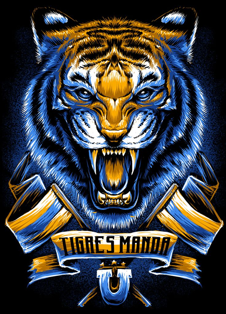 Illustration done for Tigres UANL,5 tints on black tee