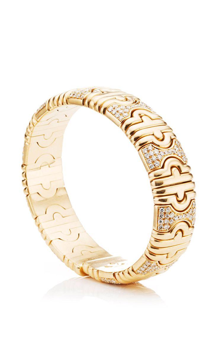 18k yellow gold and diamond vintage bulgari parentesi bangle mideighties